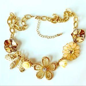 Gold Tone Lace Floral Flower Statement Necklace